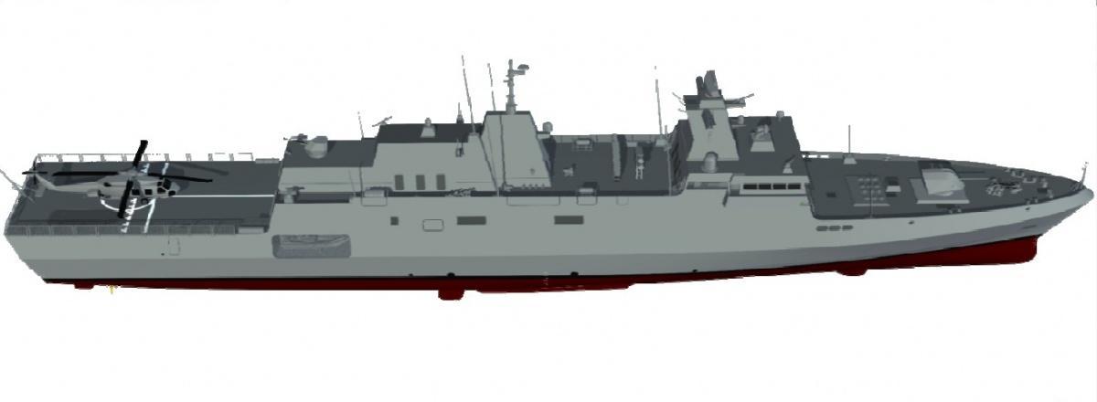 Okręty ztyposzeregu MEKO są budowane od1982. Dodziś zbudowano 82 jednostki wkonfiguracji niszczyciela rakietowego, fregaty rakietowej, korwety rakietowej ijako pełnomorskie okręty patrolowe. 37 znich zbudowano nalicencji. Niebawem dołączy donich ORP Ślązak, bazujący nanieco zmniejszonym projekcie A-100 / Grafika: Thyssenkrupp Marine Systems