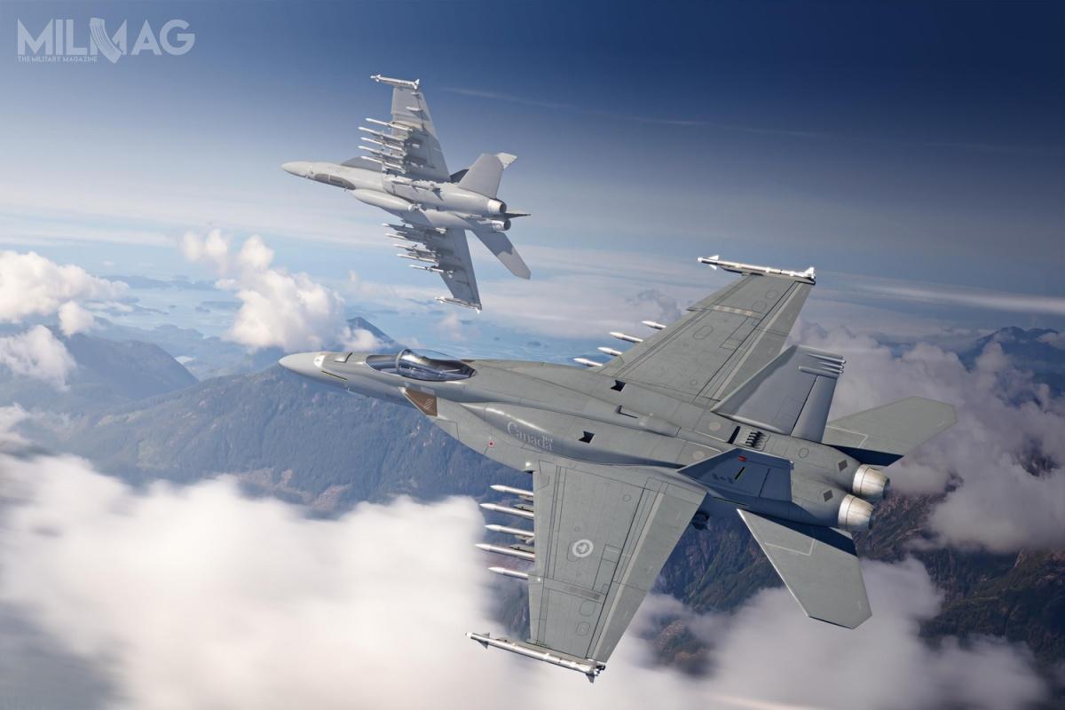 Oferowane Super Hornety dla Kanady mają być wyposażone wkonforemne zbiorniki paliwa (CFT), podwieszane zasobniki zczujnikiem termolokacyjnym IRST Block II, radar zanteną zaktywnym skanowaniem elektronicznym (AESA), pociskami rakietowymi krótkiego zasięgu powietrze-powietrze AIM-9X Sidewinder iśredniego zasięgu AIM-120 AMRAAM (wcześniej Kanada planowała zakup AIM-120D). / Grafika: Boeing Canada