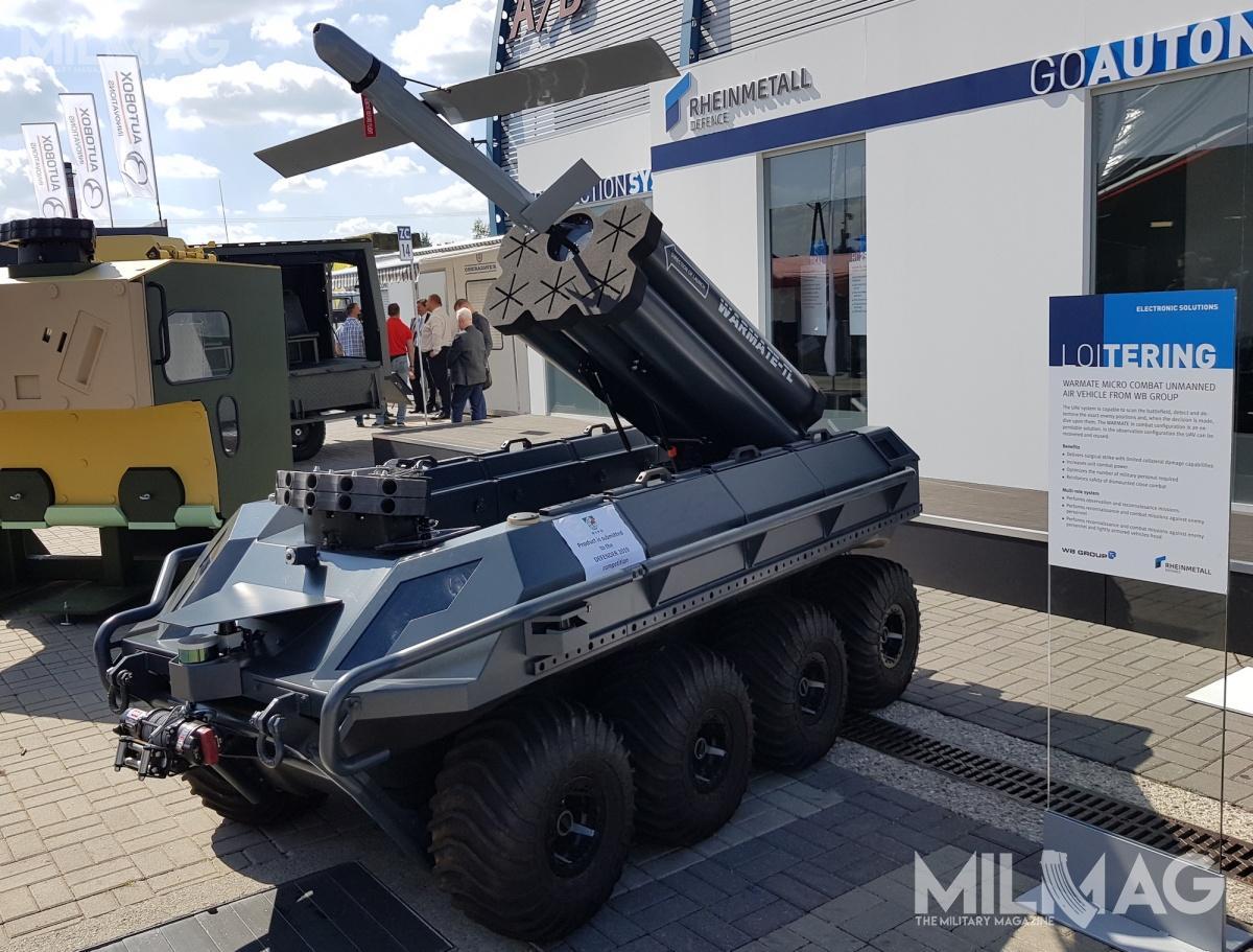 Podobnie jak nawcześniej prezentowanych wariantach MM UGV, zainstalowano nanim także dwa zespoły 40-mm wyrzutni granatów dymnych RP, gazowych CS ićwiczebnych dla pojazdów lądowych Rapid Obscuring System (ROSY_L), opracowane przezAmerican Rheinmetall Munitions