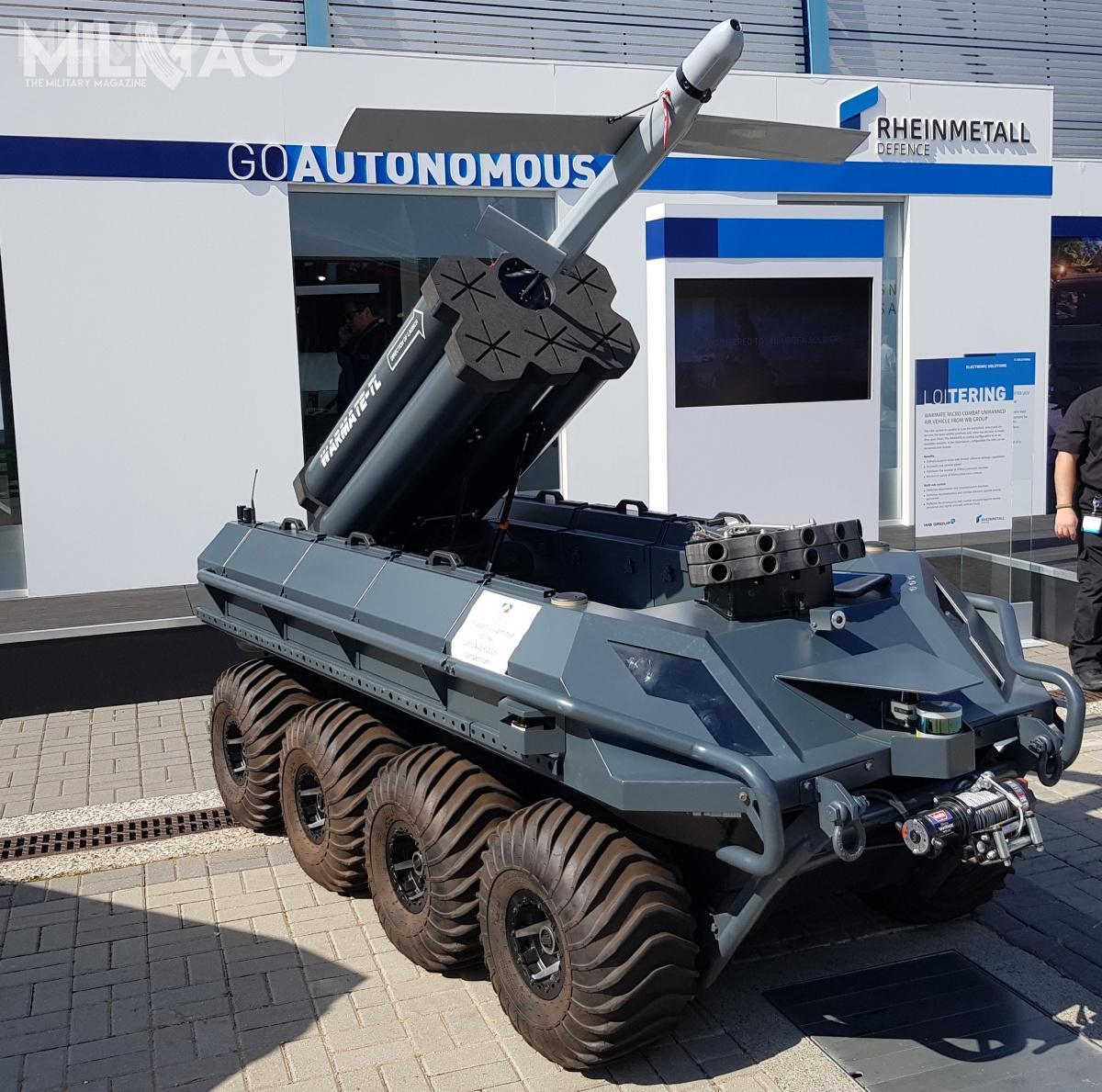 Mission Master UGV może być uzbrojony w6-tubową wyrzutnię polskiej amunicji krążącej WB Electronics Warmate-TL / Zdjęcie: Jakub Link-Lenczowski