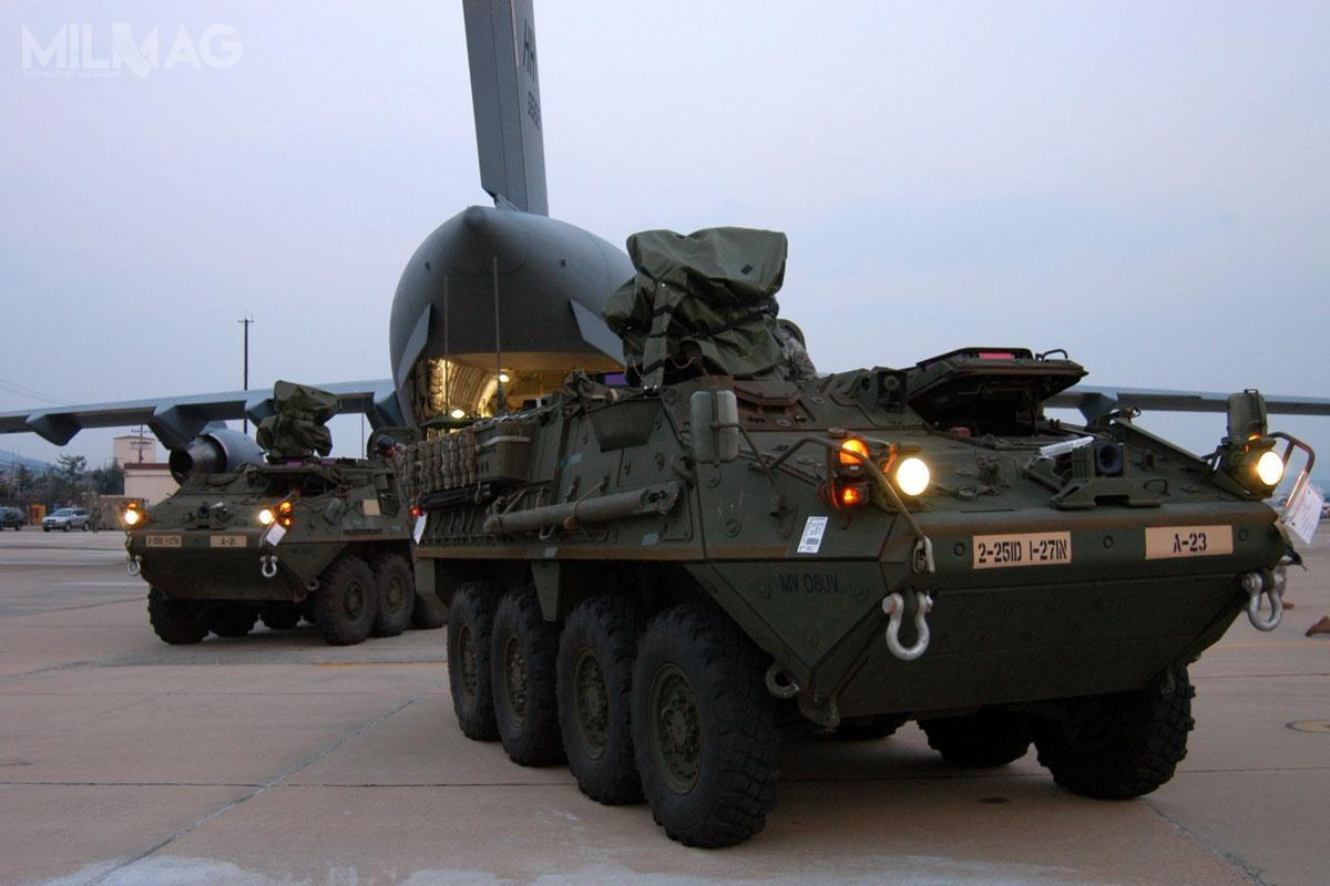 Do 2014 spółka GDLS-C dostarczyła wojskom lądowym Stanów Zjednoczonych 4466 pojazdów Stryker w10 wersjach: transporter piechoty M1126, wóz rozpoznawczy M1127, niszczyciel czołgów M1128, moździerz M1129, wóz dowodzenia M1130, wóz kierowania ogniem M1131, wóz inzynieryjny M1132, wóz ewakuacji medycznej M1133, przeciwpancerny M1134 ipojazd rozpoznania skażeń M1135