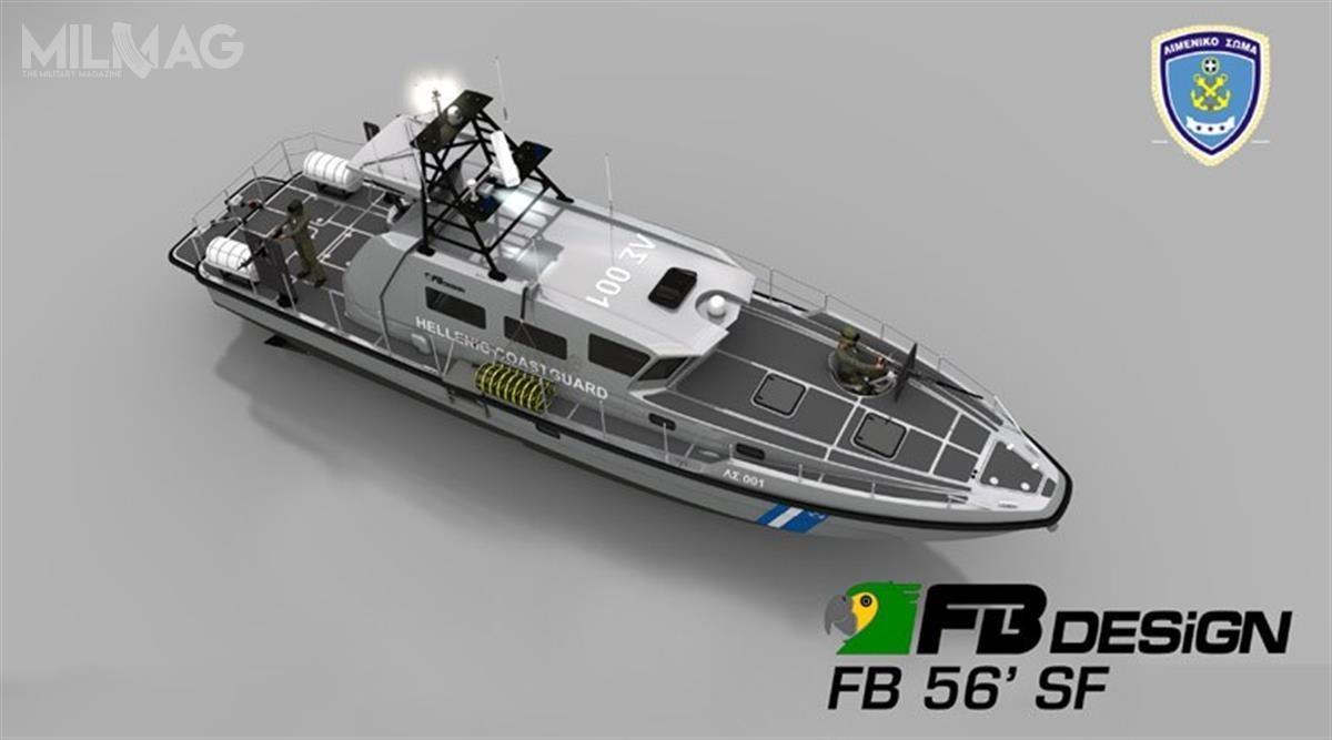 Łodzie patrolowe typu FB 56′ SF będą bazować naprojektach łodzi FB 52' SF (wykorzystywanych przezwłoski Korpus Straży Skarbowej) oraznowszego typu FB 60' SF / Grafika: Fabio Buzzi