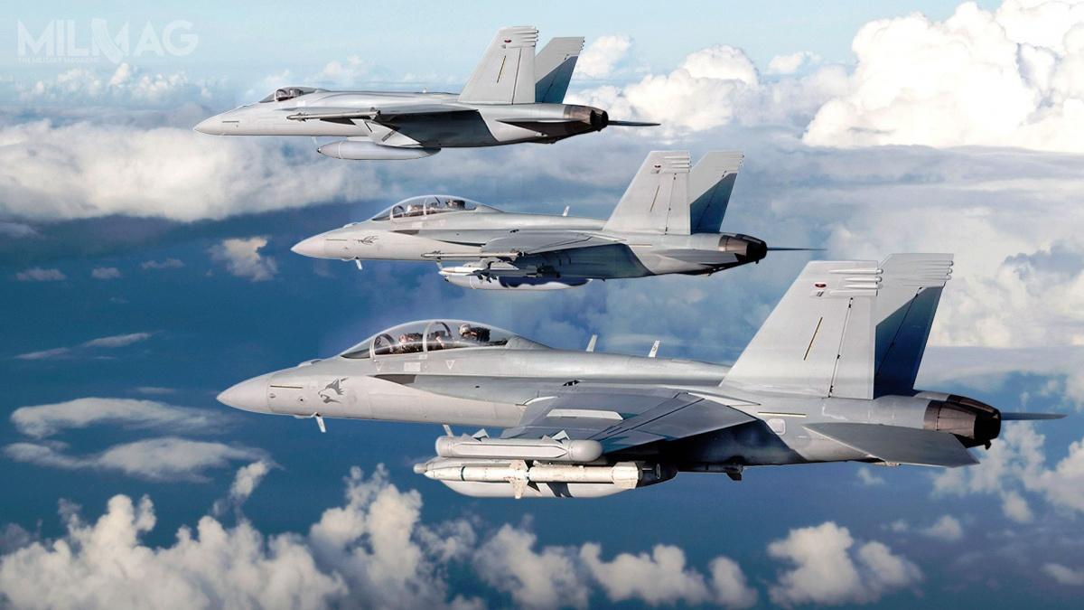 Konkurentami dla amerykańskich F-35A Lightning II iF/A-18E/F Super Hornet wraz zEA-18G Growler, są samoloty europejskie: Eurofighter Typhoon, Dassault Rafale iSaab JAS 39E/F Gripen (wraz zsamolotami wczesnego ostrzegania idowodzenia GlobalEye) / Zdjęcie: Boeing