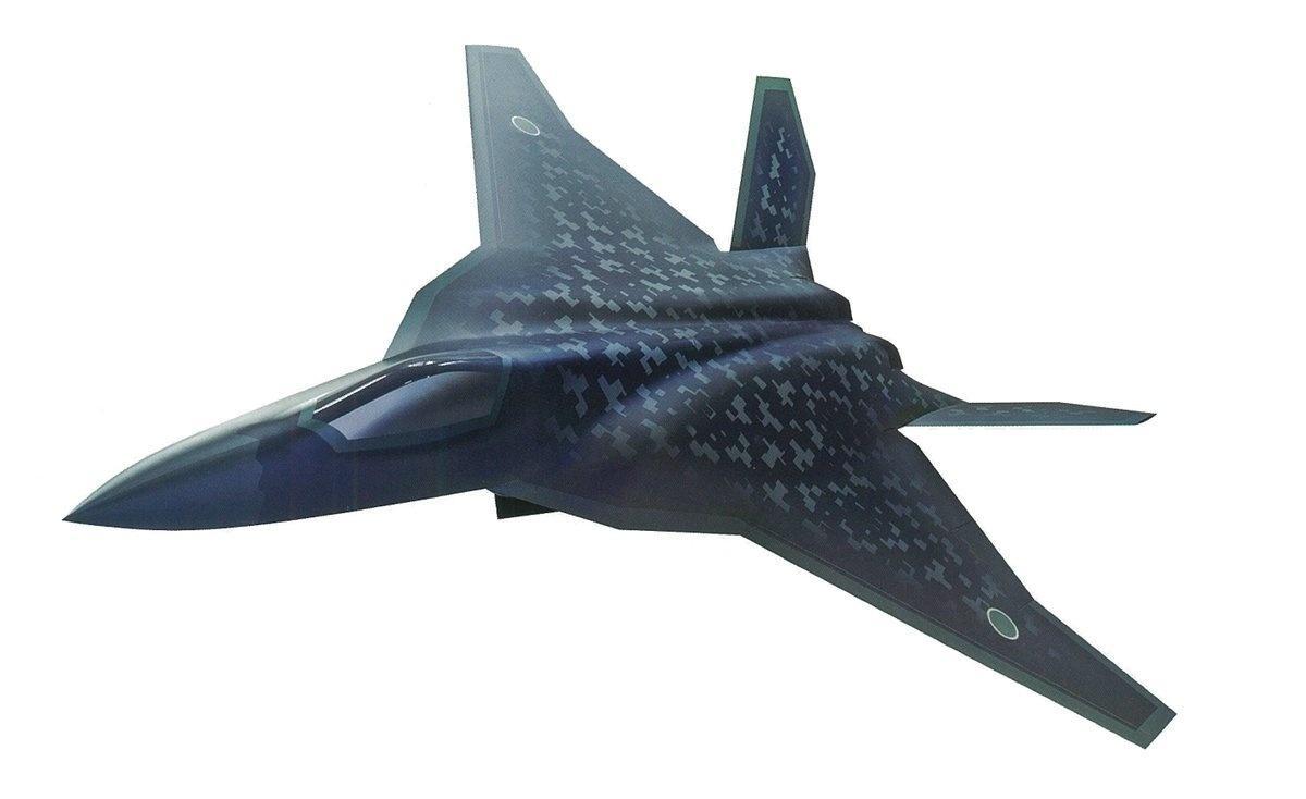 Na początku lutego 2020 Ministerstwo Obrony Japonii ujawniło artystyczną wizję samolotu wielozadaniowego, którybędzie rozwijany wramach programu F-X. Zakłada się, żenowy samolot będzie mógł przenosić większą liczbą pocisków rakietowych iinnego typu uzbrojenia niż amerykański F-35 / Grafika: MO Japonii
