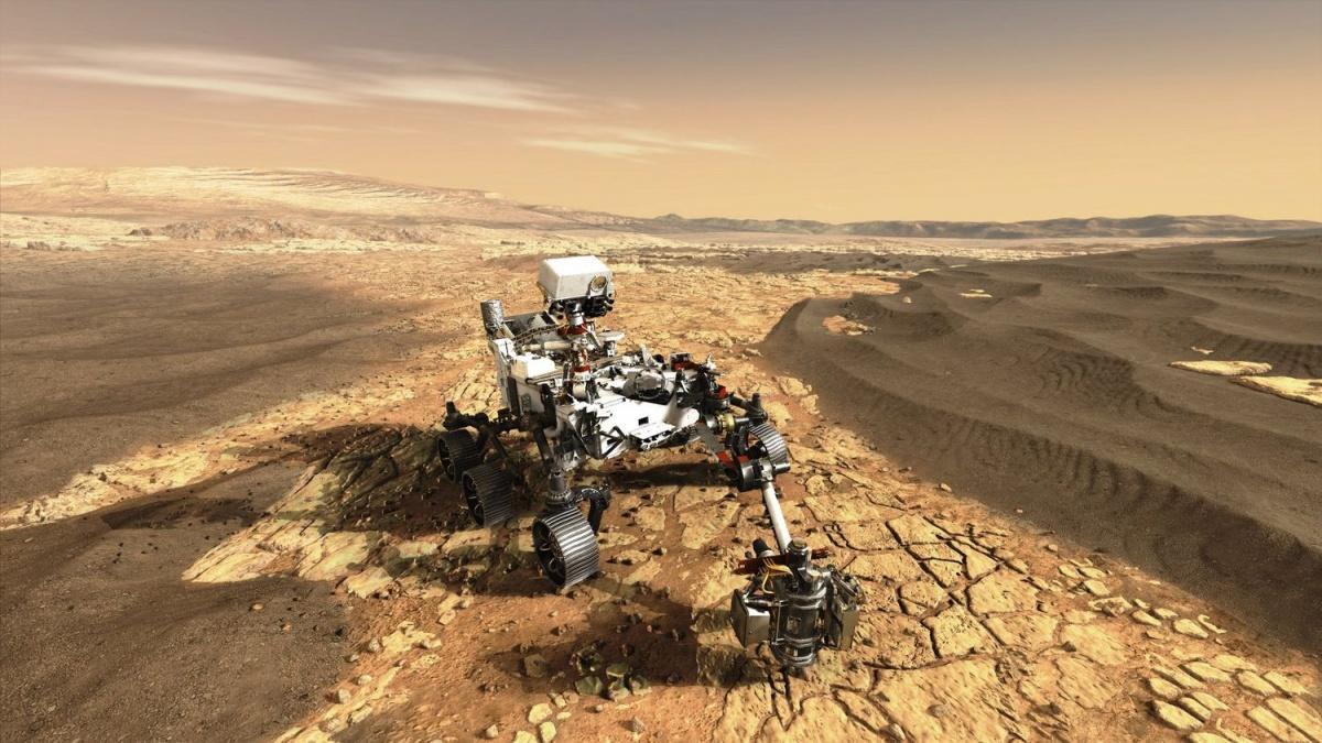 18 lutego napowierzchni Marsa wyląduje łazik NASA Perseverance. Wramach misji Mars 2020, swój udział ma także europejska spółka Airbus Defence and Space / Grafika: NASA-JPL-Caltech