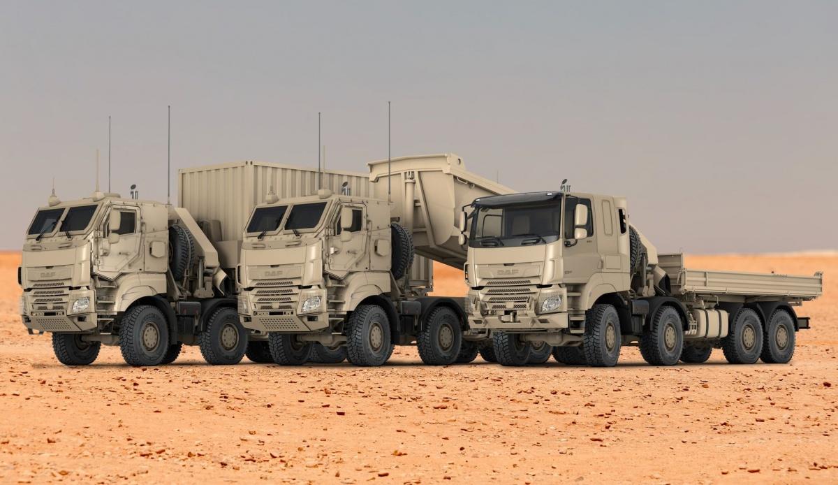 243 samochody z879 zamówionych będą czteroosiowe zukładem napędowym 8x8, przeznaczone dozabudowy specjalistycznego wyposażenia / Grafika: DAF Trucks